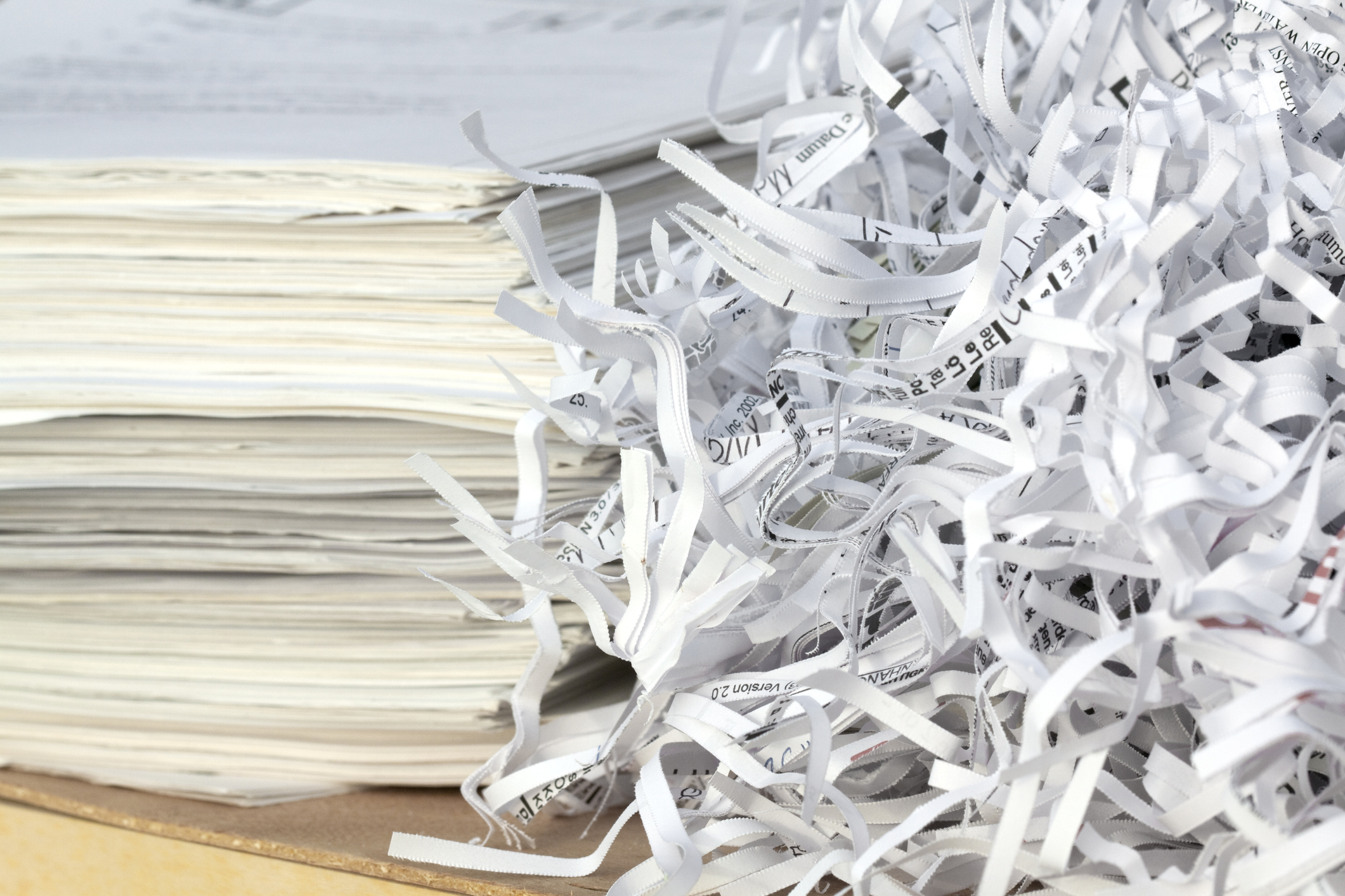 Shredded confidential documents